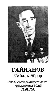 ГАЙНАНОВ САЙДЛЬ АБРАР (1911 - 1982)