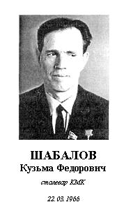 ШАБАЛОВ КУЗЬМА ФЕДОРОВИЧ (1919 - 1981)